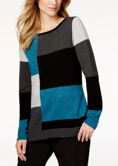 Charter Club Petite Cashmere Colorblocked Sweater, Created for Macy's