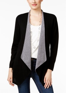 Charter Club Petite Cashmere Draped-Front Cardigan, Only at Macy's