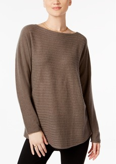 Charter Club Petite Cashmere Ribbed Shirttail Sweater, Created for Macy's
