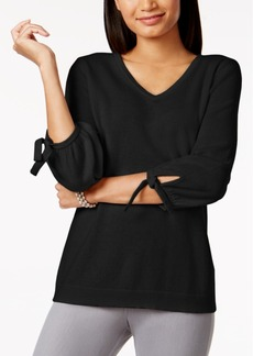 Charter Club Petite Cashmere Tie-Sleeve Sweater, Created for Macy's