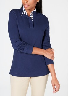Charter Club Petite Contrast Henley Top, Created for Macy's
