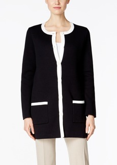 Charter Club Petite Contrast-Trim Duster Cardigan, Only at Macy's