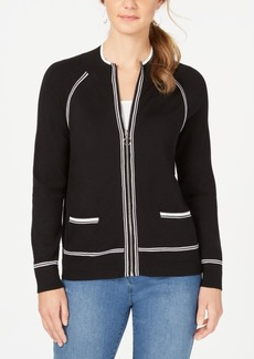 Charter Club Petite Contrast-Trim Sweater Jacket, Created for Macy's