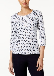 Charter Club Petite Cotton Bird-Print Top, Created for Macy's