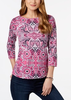 Charter Club Petite Pima Cotton Button-Shoulder 3/4-Sleeve Top, Created for Macy's