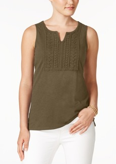 Charter Club Petite Cotton Crochet Top, Created for Macy's