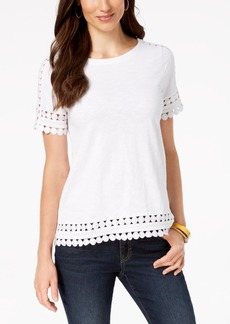 Charter Club Petite Cotton Crochet-Trim T-Shirt, Created for Macy's