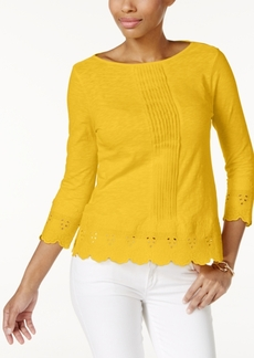 Charter Club Petite Cotton Crochet-Trim Top, Created for Macy's