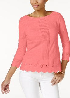 Charter Club Petite Cotton Crochet-Trim Top, Only at Macy's