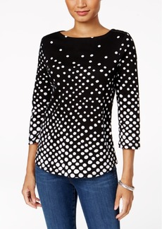 Charter Club Petite Pima Cotton Dot-Print Boat-Neck Top, Created for Macy's