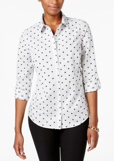 Charter Club Petite Cotton Dot-Print Striped Shirt, Created for Macy's