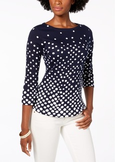 Charter Club Petite Cotton Dot-Print Top, Created for Macy's