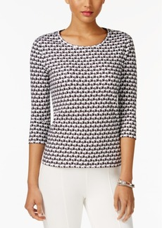 Charter Club Petite Cotton Elephant-Print Top, Created for Macy's