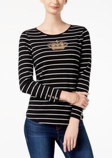 Charter Club Petite Cotton Embellished-Crown Striped Top, Created for Macy's