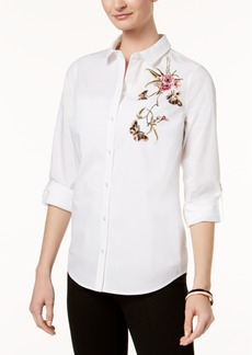 Charter Club Petite Cotton Embellished Shirt, Created for Macy's