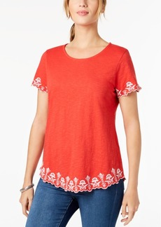 Charter Club Petite Cotton Embroidered Top, Created for Macy's