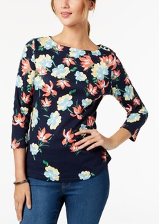 Charter Club Petite Cotton Floral-Print Boat-Neck Top, Created for Macy's