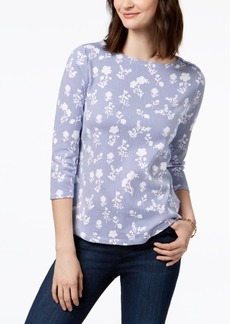Charter Club Petite Pima Cotton Floral-Print Top, Created for Macy's