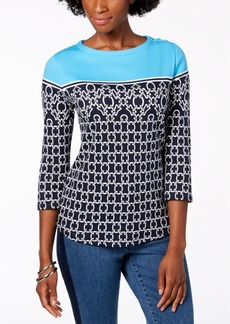Charter Club Petite Cotton Floral-Print Top, Created for Macy's