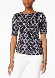 Charter Club Petite Cotton Geo-Print Top, Created for Macy's