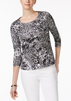 Charter Club Petite Cotton Glitter Paisley-Print Top, Created for Macy's