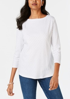Charter Club Petite Cotton Mini-Dot Print Top, Created for Macy's