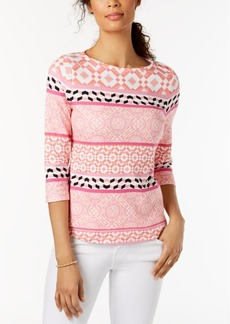 Charter Club Petite Cotton Mixed-Print Top, Created for Macy's
