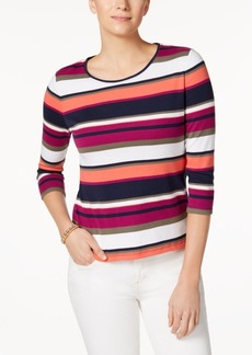 Charter Club Petite Cotton Mixed-Stripe Top, Created for Macy's