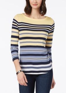 Charter Club Petite Pima Cotton Multi-Stripe Sweater, Created for Macy's