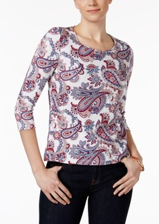 Charter Club Petite Cotton Paisley-Print Top, Created for Macy's