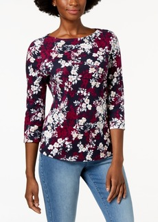 Charter Club Petite Cotton Printed Boat-Neck Top, Created for Macy's