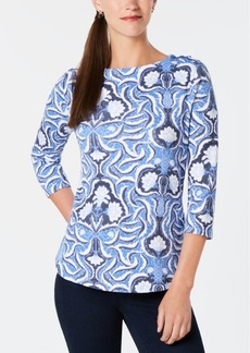 Charter Club Petite Cotton Printed Button-Shoulder Top, Created for Macy's