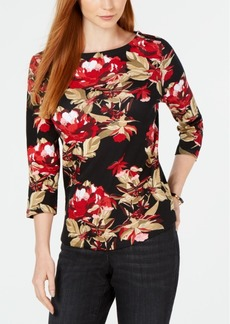 Charter Club Petite Cotton Printed Top, Created for Macy's