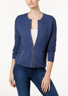 Charter Club Petite Cotton Quilted Zip-Up Sweater, Created for Macy's