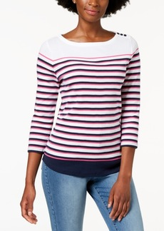 Charter Club Petite Cotton Striped Button-Shoulder Top, Created for Macy's
