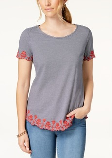 Charter Club Petite Cotton Striped Embroidered Top, Created for Macy's