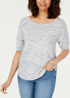 Charter Club Spacedyed Elbow-Sleeve Cotton Sweater, Created for Macy's