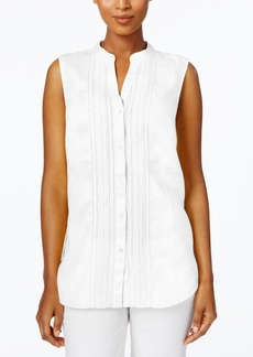 Charter Club Petite Crochet-Trim Blouse, Created for Macy's