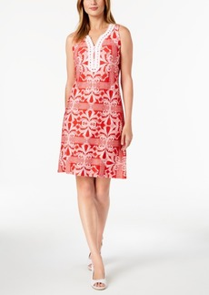 Charter Club Petite Crochet-Trim Printed Dress, Created for Macy's