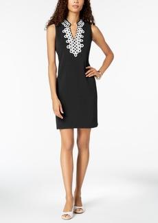 Charter Club Petite Crochet-Trim Sheath Dress, Created for Macy's