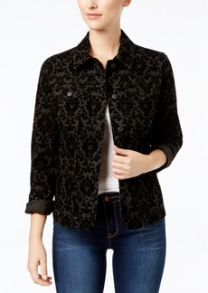 Charter Club Petite Damask-Print Denim Jacket, Created for Macy's