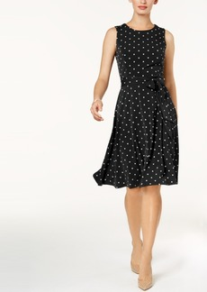 Charter Club Petite Dot-Print Fit & Flare Dress, Created for Macy's