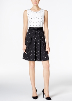 Charter Club Petite Dot-Print Fit & Flare Dress, Only at Macy's