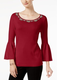 Charter Club Petite Embellished Sweater, Created for Macy's