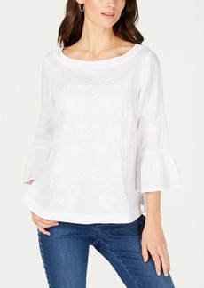 Charter Club Embroidered Linen Bell-Sleeve Blouse, Created for Macy's