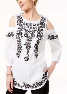 Charter Club Petite Embroidered Cold-Shoulder Top, Created for Macy's