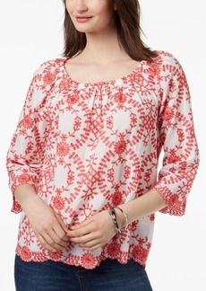 Charter Club Petite Embroidered Convertible Off-The-Shoulder Top, Created for Macy's