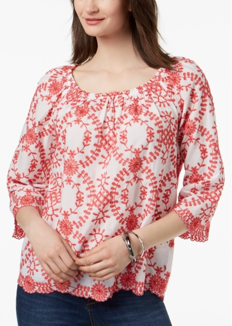 39513bd30013 Charter Club Petite Embroidered Convertible Off-The-Shoulder Top, Created  for Macy's