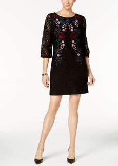 Charter Club Petite Embroidered Lace Dress, Created for Macy's