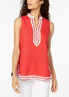 Charter Club Linen Embroidered Tunic, Created for Macy's